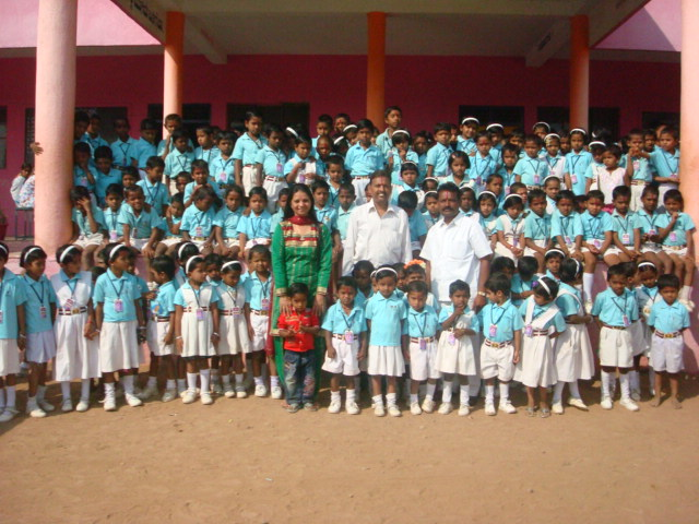 WITH PRIMARY STUDENTS AT SCHOOL IN KARNATAKA STATE